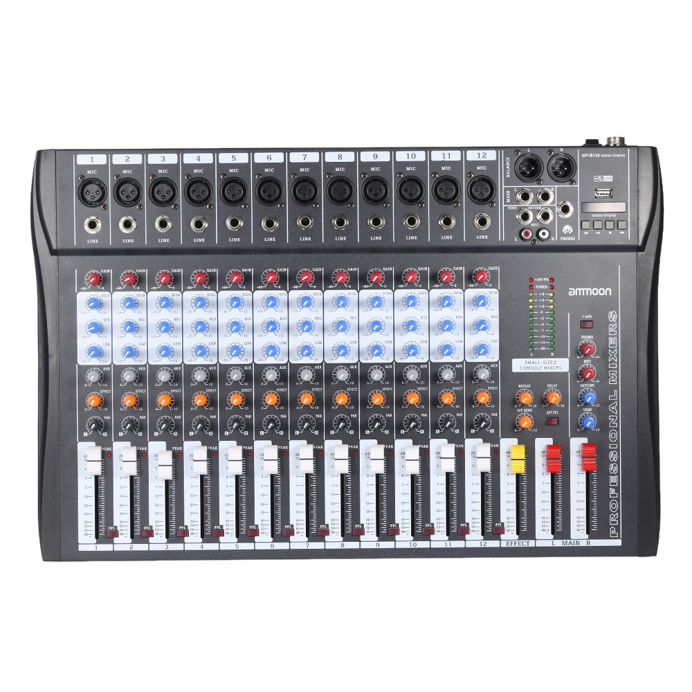 Ammoon 120 S-USB 12 Channels Mic Line Mixing console